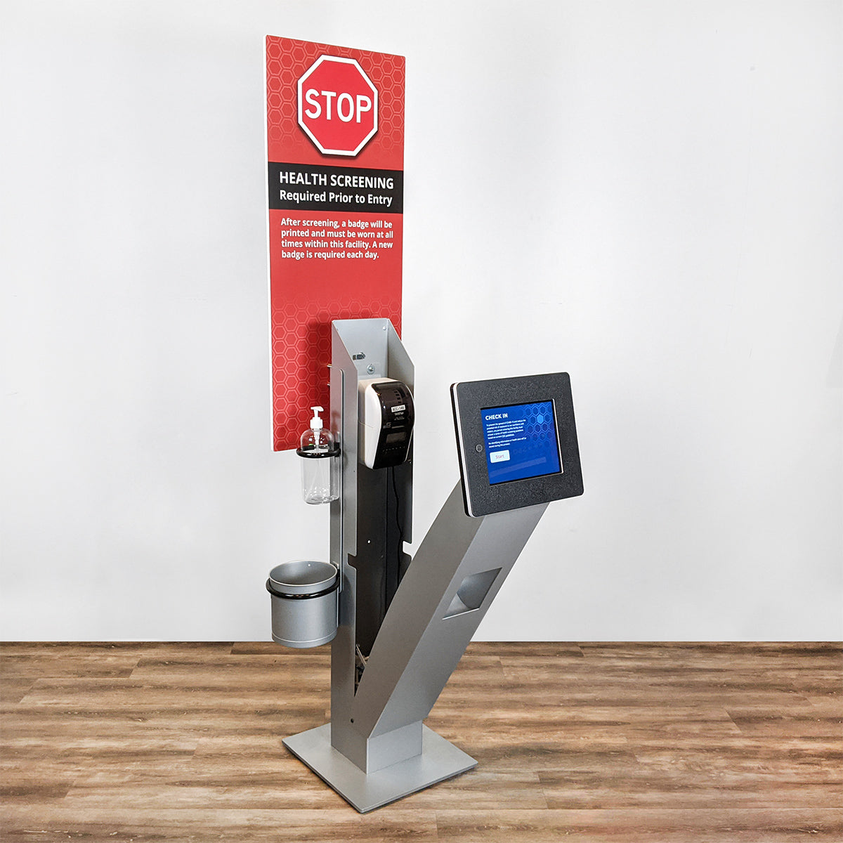 The Roo printer kiosk opens on a hinge to allow easy access to the printer and interior components.
