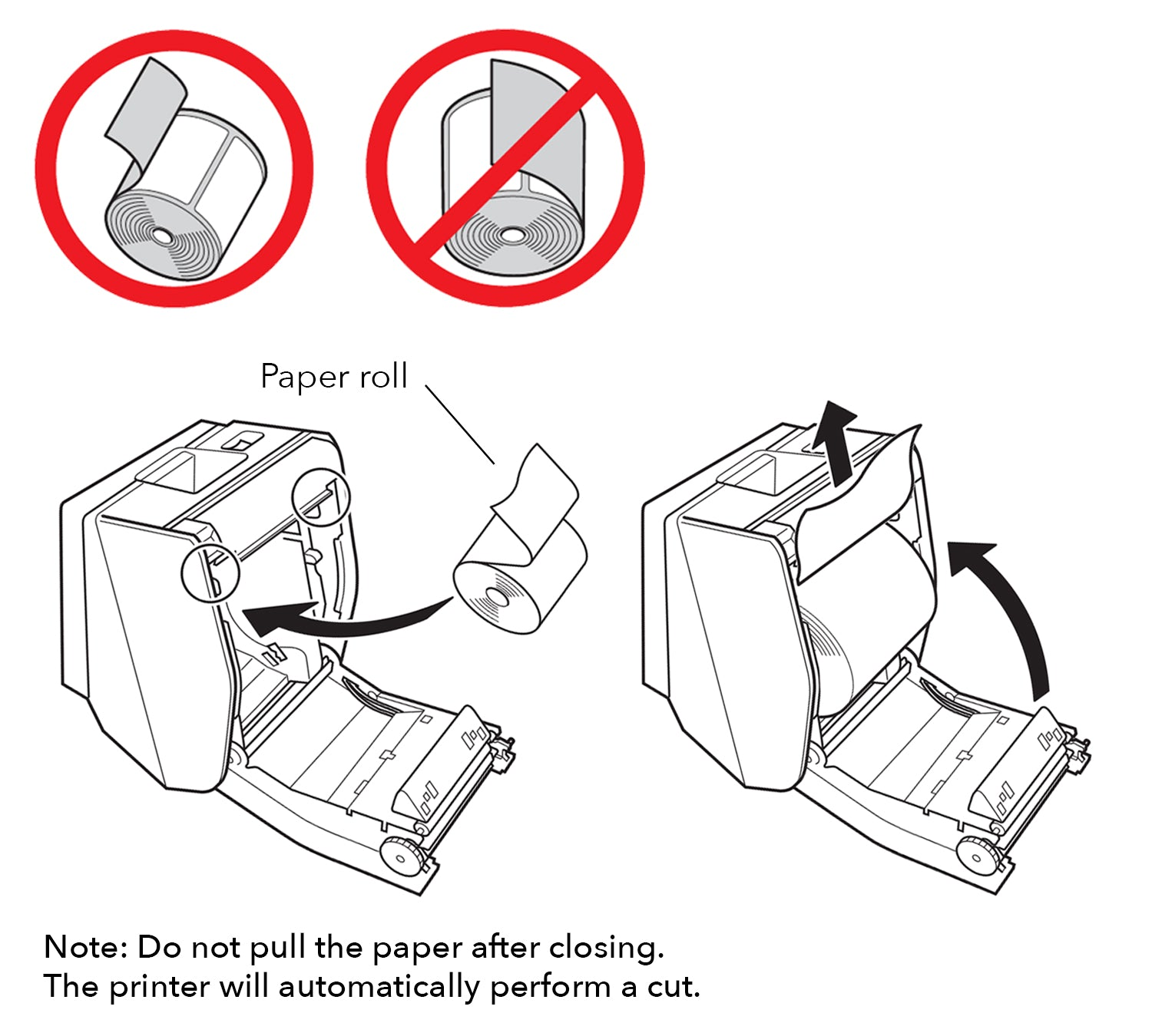 Diagram showing how to load paper roll into Star Printer
