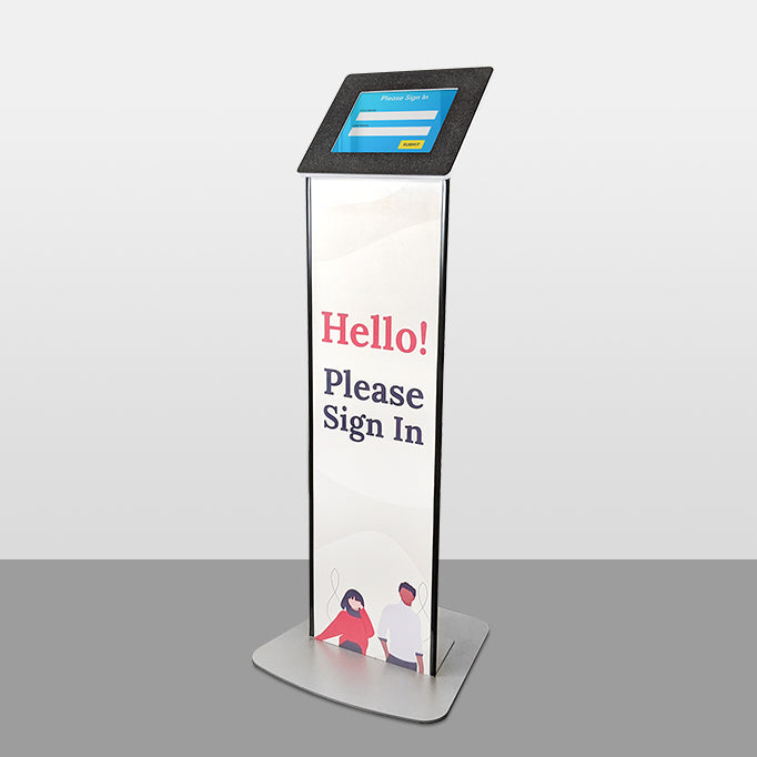 A freestanding kiosk with a large graphic body for attracting and informing visitors.