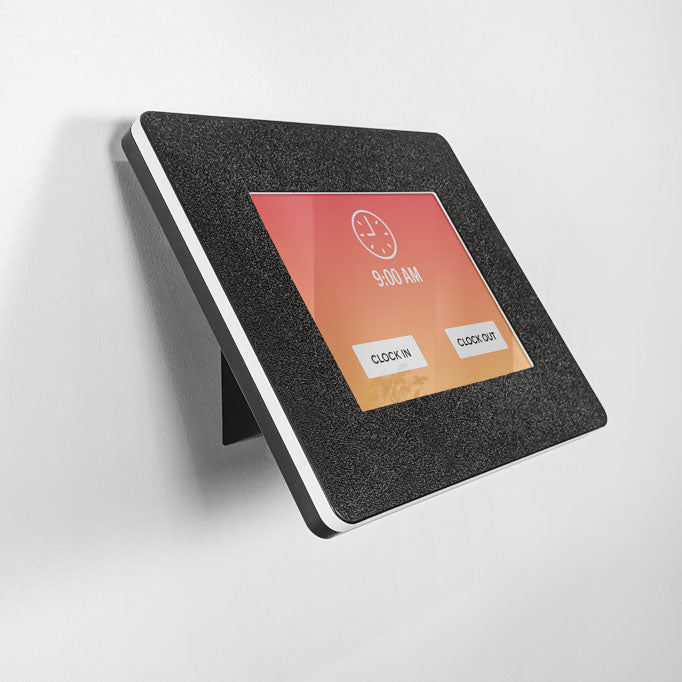 A durable tablet enclosure that can be mounted on a wall for ADA compliance.