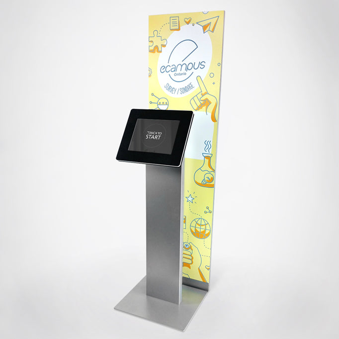 A tall graphic panel that stands behind the Standalone kiosk.