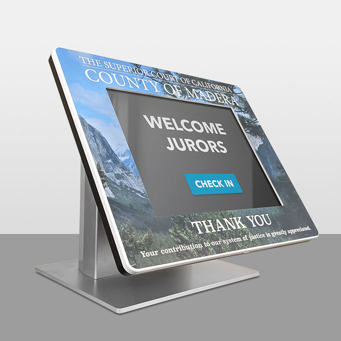 A graphic framing the tablet kiosk screen.