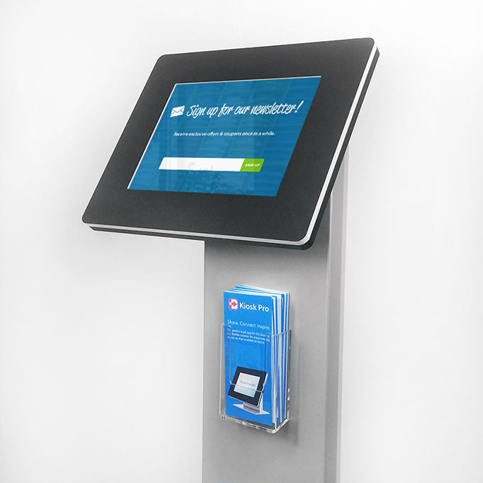 A clear plastic brochure holder attached to the front of the tablet kiosk body.