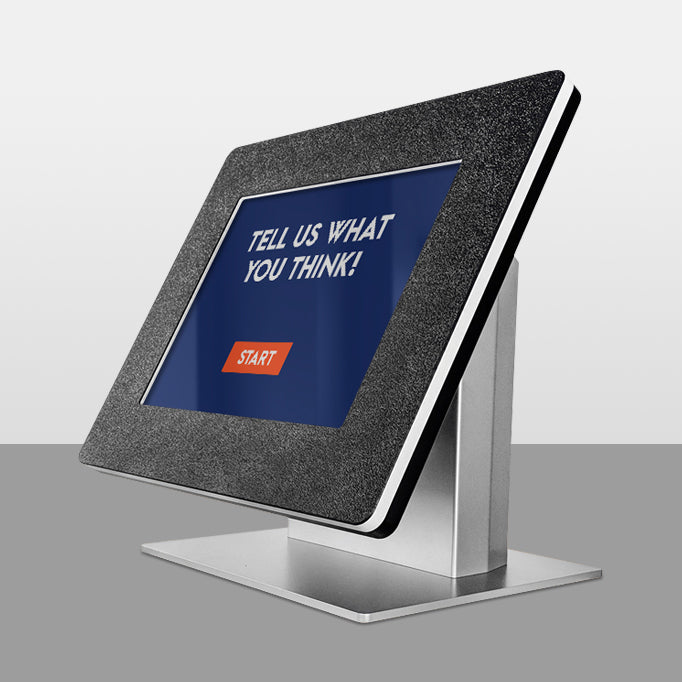 A study countertop kiosk with durable powdercoating and a head enclosure made from scratch-resistant thermoplastic.