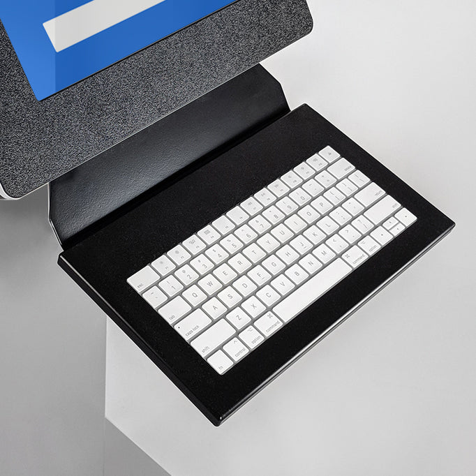 A keyboard tray attached underneath the tablet screen for easy data entry.