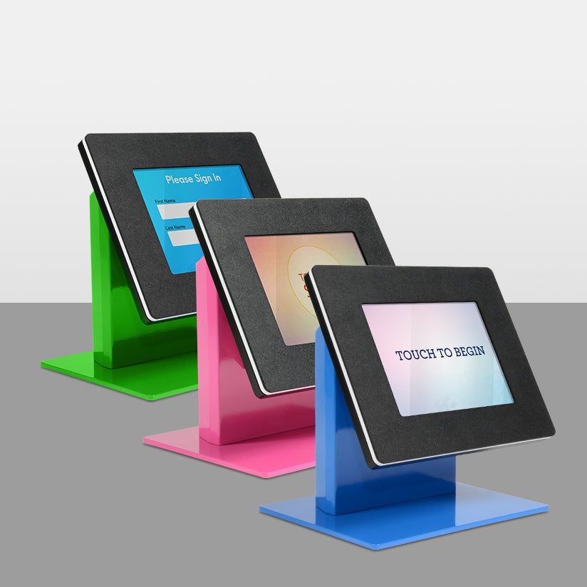 Kiosks covered in a durable powder coating, in a variety of colors.