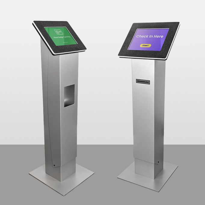 Freestanding kiosks with slot or catch options for printing.