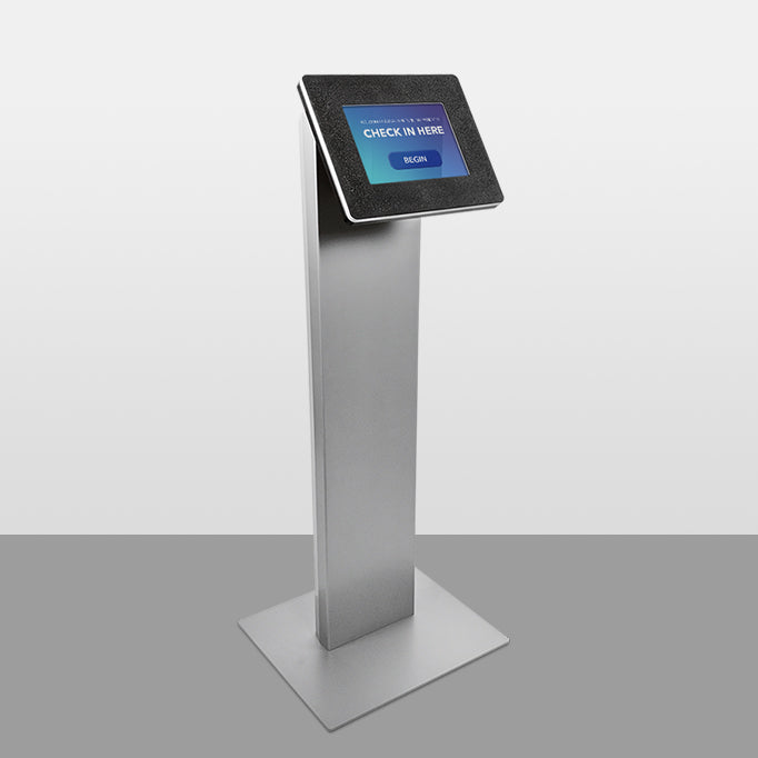 A strong, freestanding tablet kiosk with durable powdercoating and a head enclosure made from scratch-resistant thermoplastic.