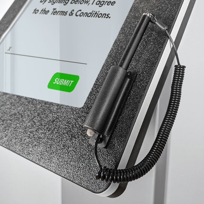A stylus mount to the side of the tablet screen for easy signature capture.
