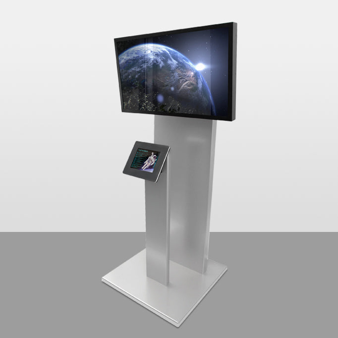 A Standalone kiosk attached to a large base with an external screen pedestal.