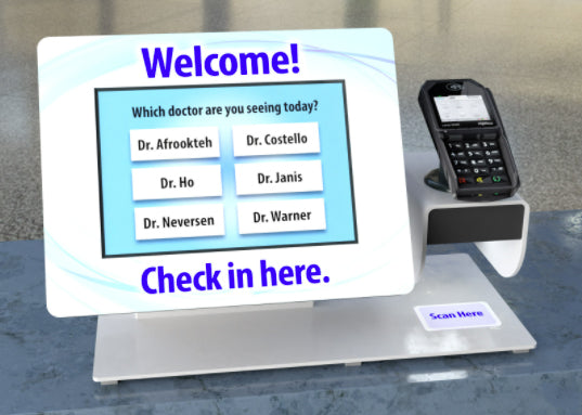 A countertop healthcare kiosk displaying a screen for choosing a doctor to sign in with.
