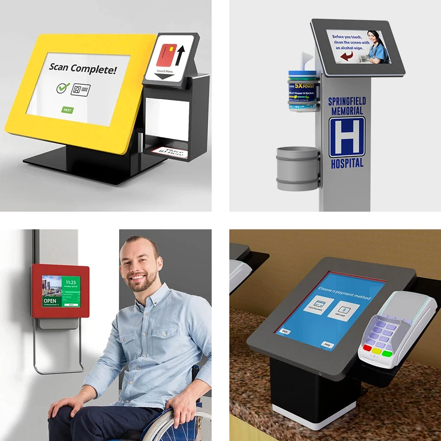 A variety of custom kiosks that include support for card readers, scanners and printers.