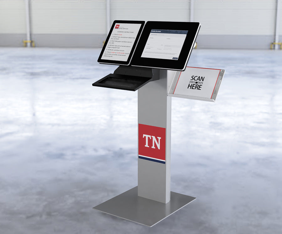 A standing kiosk that supports scanning full-page documents.