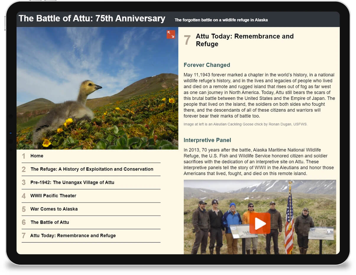 An iPad displaying an informational interface about the Battle of Attu.