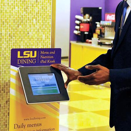 Add a graphic panel to inform kiosk visitors.