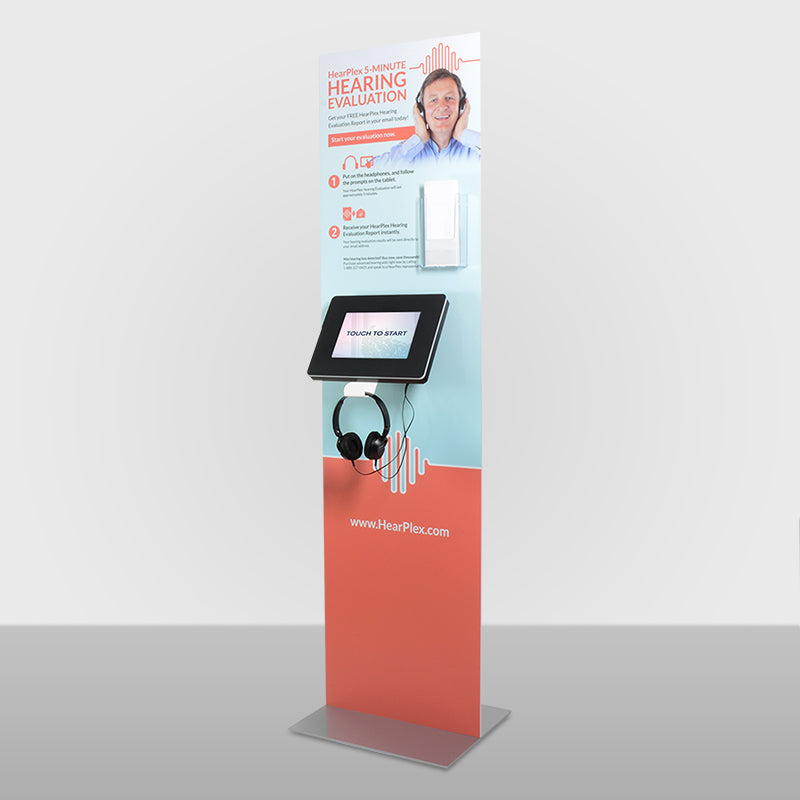 A Standalone kiosk with custom backdrop graphic panel and custom headphone hanger.