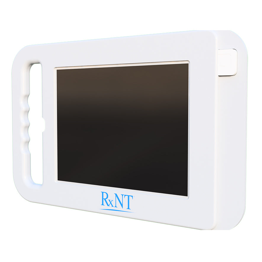 A handheld tablet enclosure with a Square card reader.