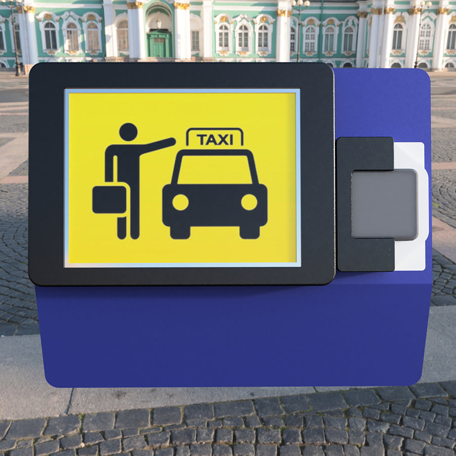 A kiosk for scheduling a taxi pickup with a card reader attached.