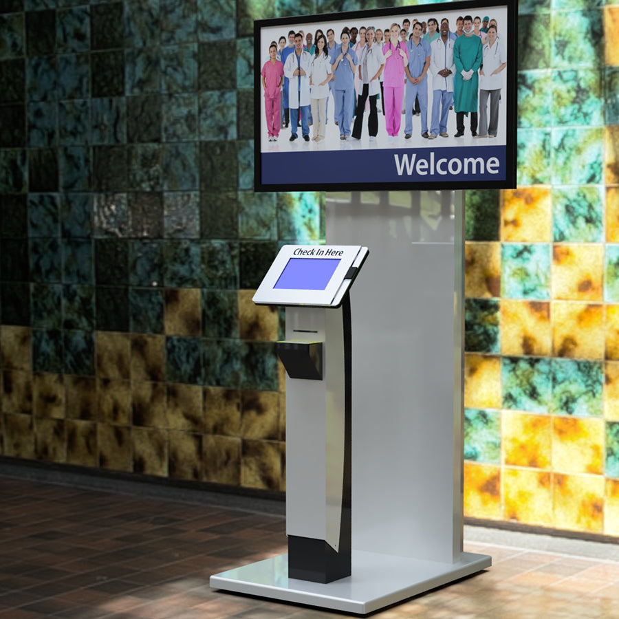 A Tower kiosk with a tray for placing IDs to scan.
