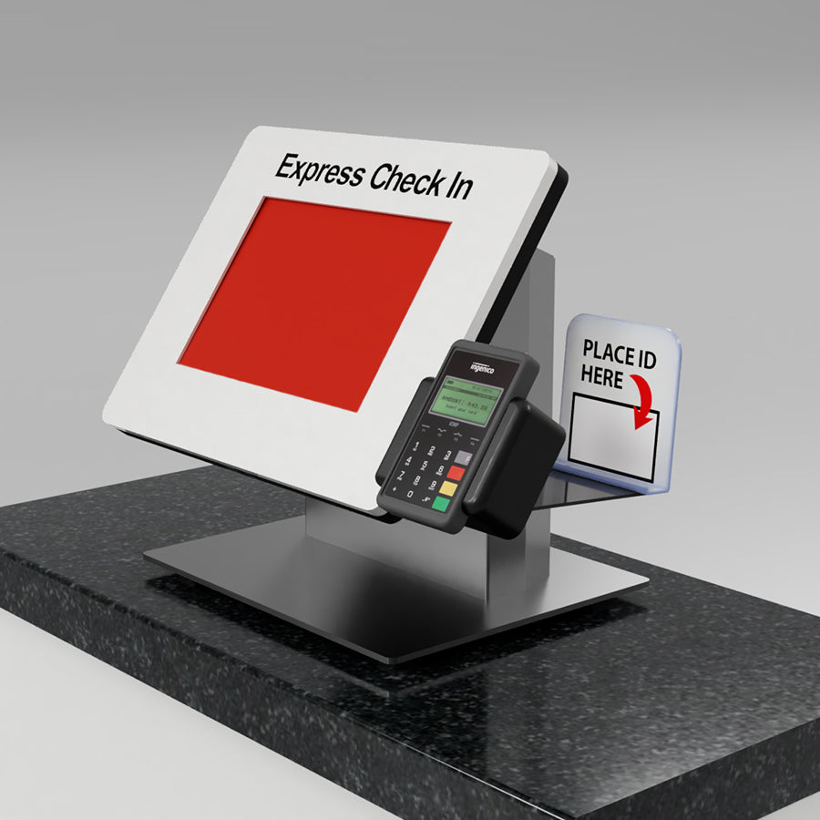 A Countertop kiosk with a card reader and ID scanner.