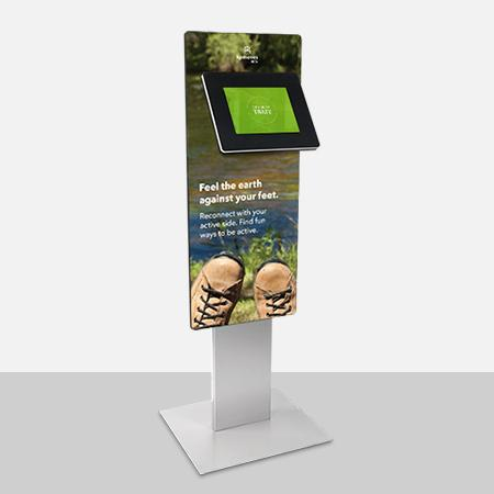 Add a graphic panel to encourage visitors to use your kiosk.