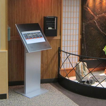 A directory kiosk allows visitors to navigate through your building.