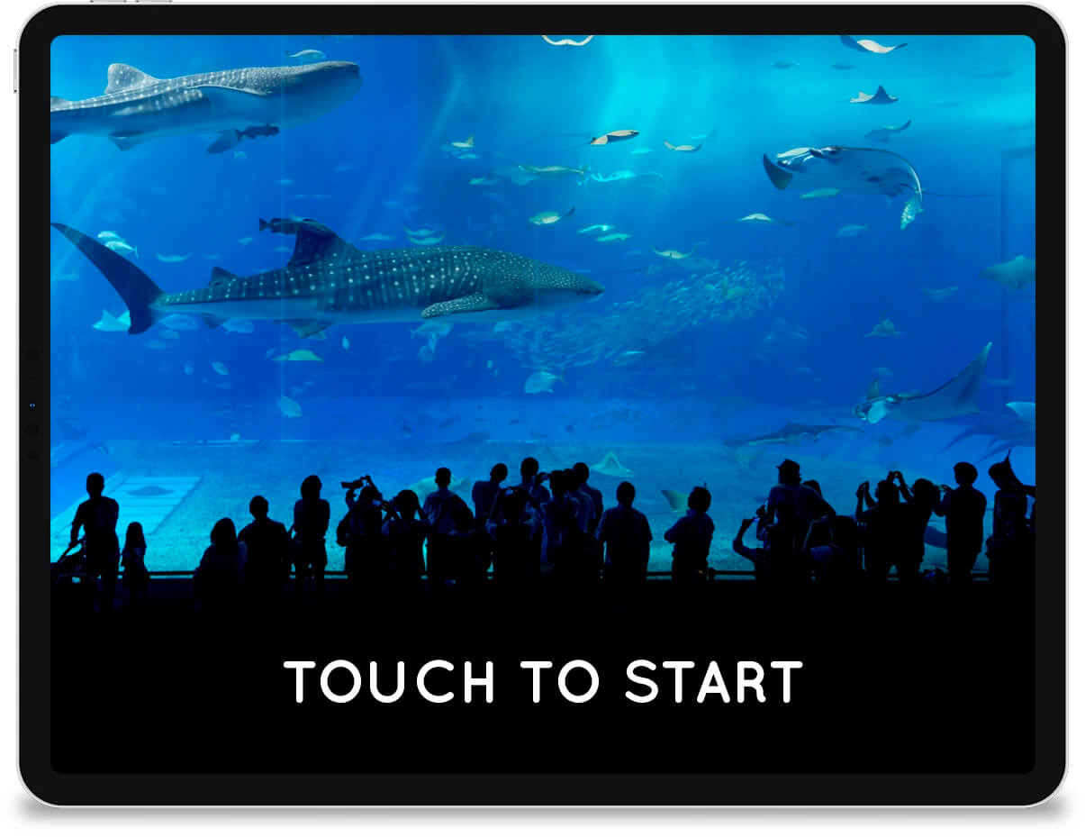 An iPad displaying a 'touch to start' message in front of a photo of an aquarium tank.