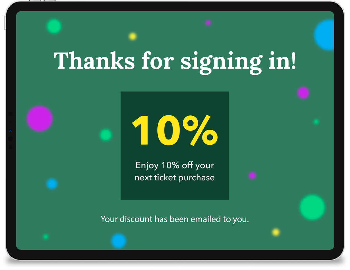 An iPad displaying a 'thank you' screen with a coupon for 10% off.