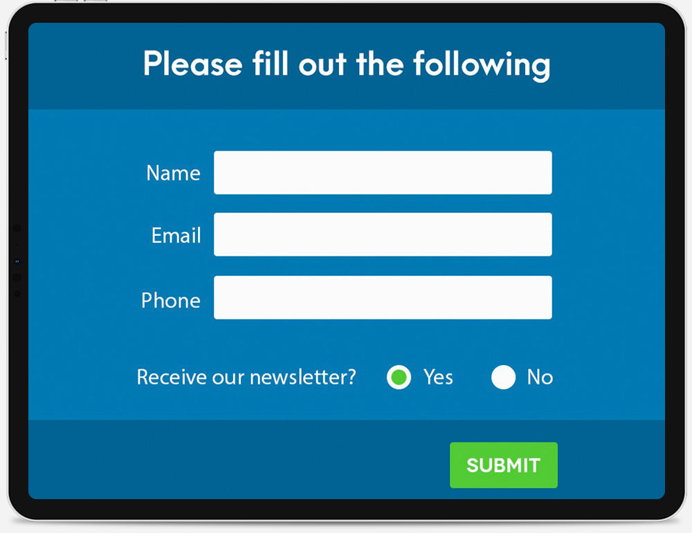 An iPad displaying a newsletter sign-up form.