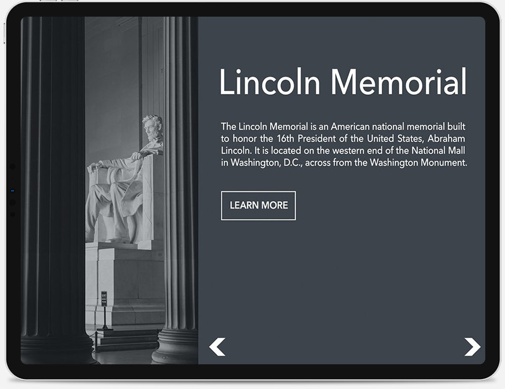 An iPad displaying an information page about the Lincoln Memorial.