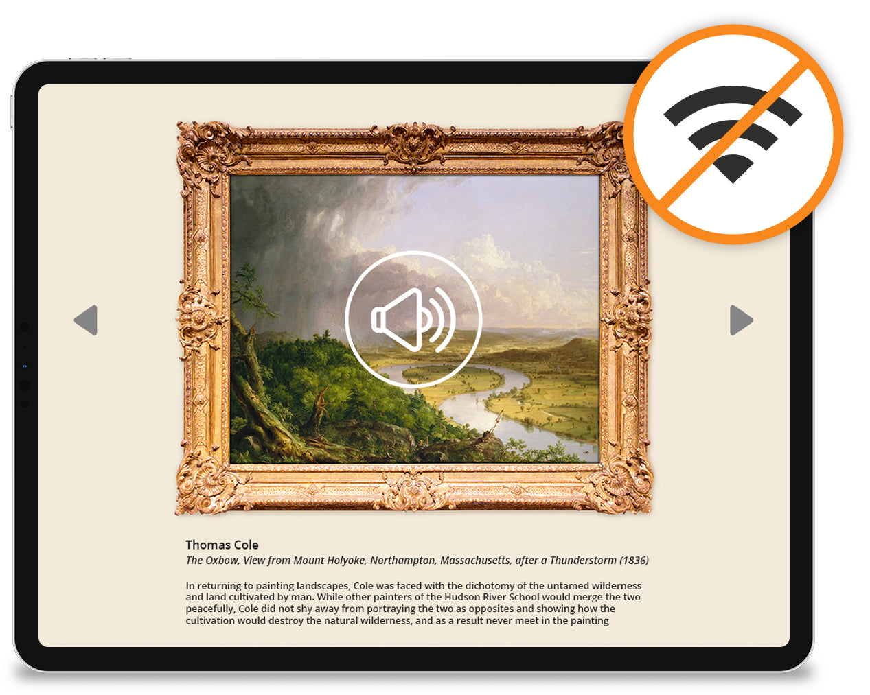 An iPad displaying content for a museum without an internet connection.