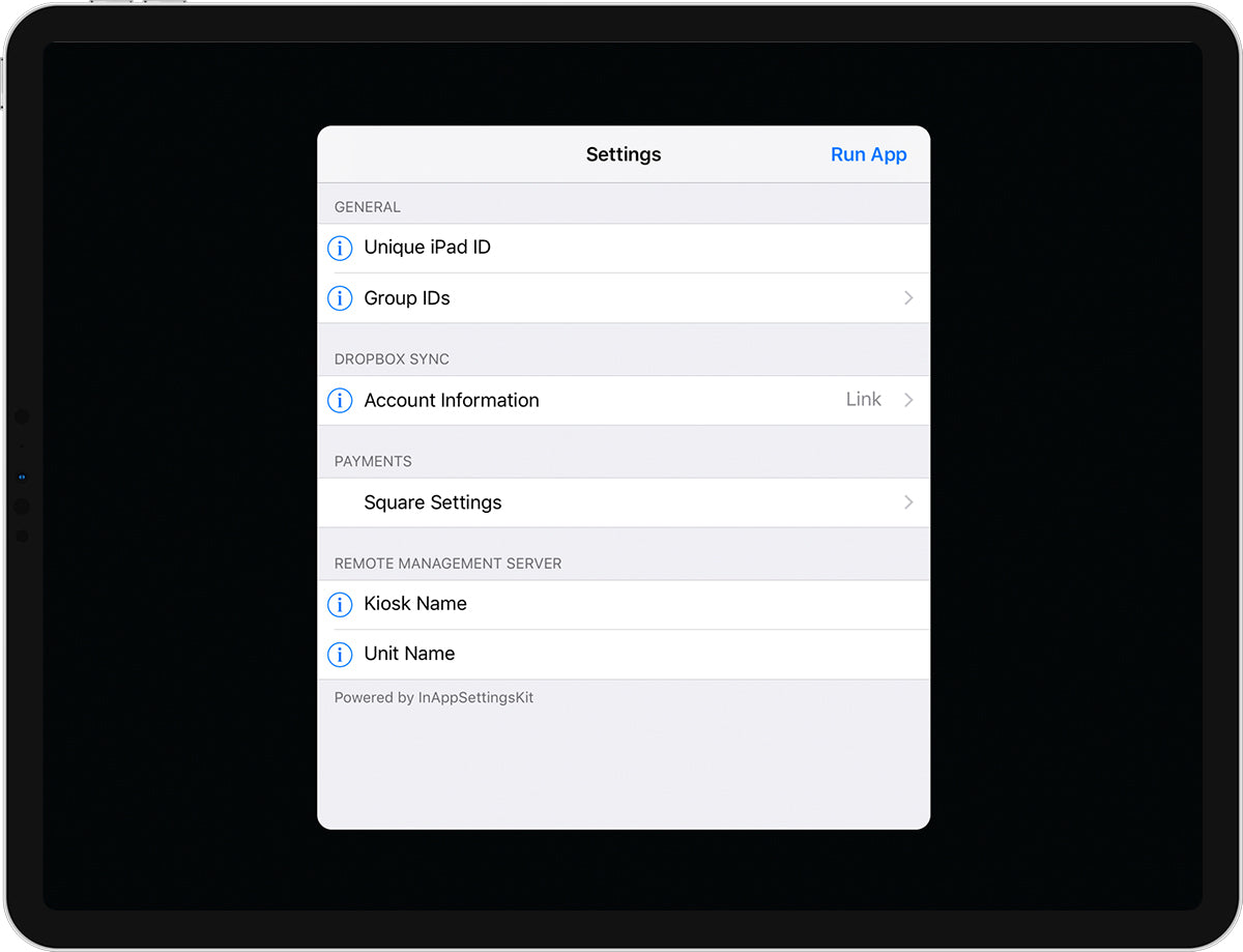 An iPad displaying a custom settings menu, allowing users to fill in specific identifiers.
