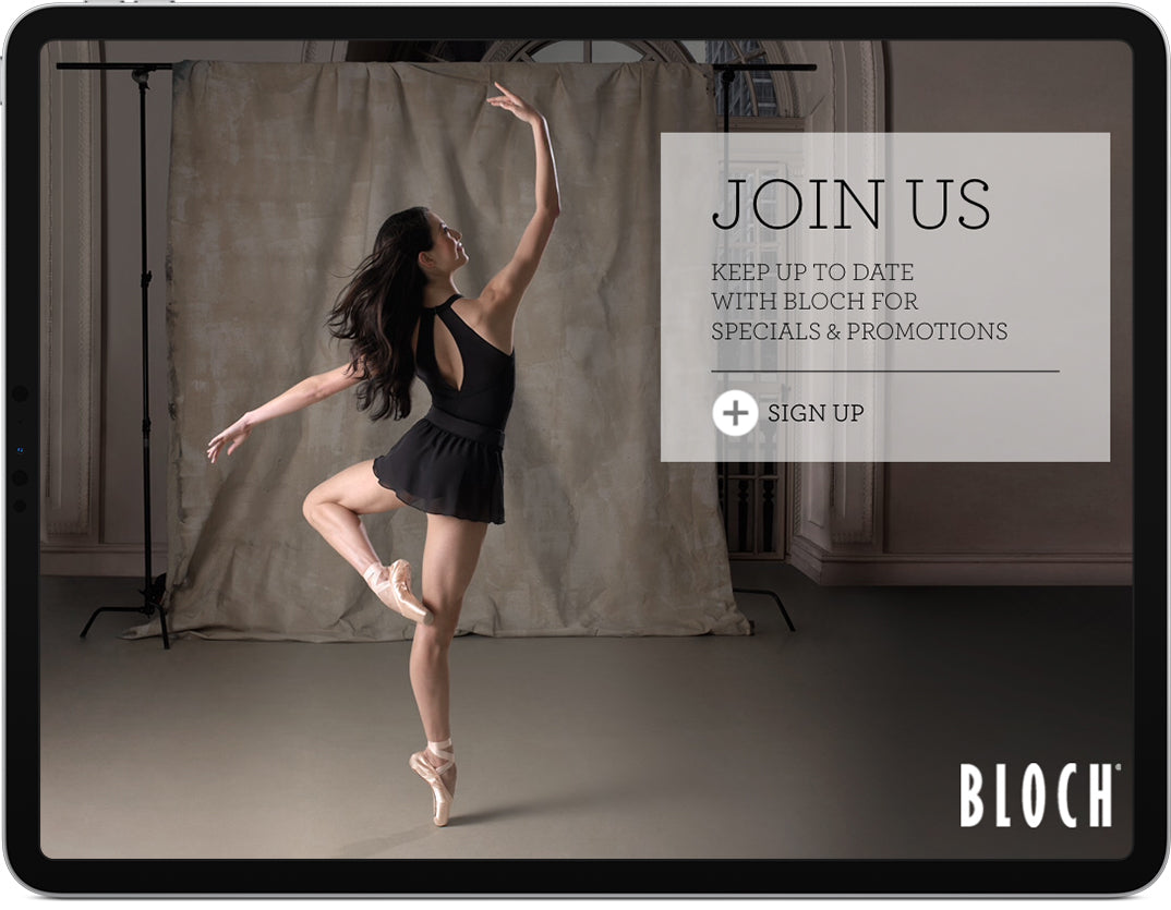 An iPad displaying a newsletter sign up screen for Bloch.