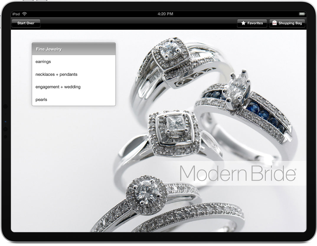 An iPad displaying a screen that allows shoppers to choose a jewelery category to browse.