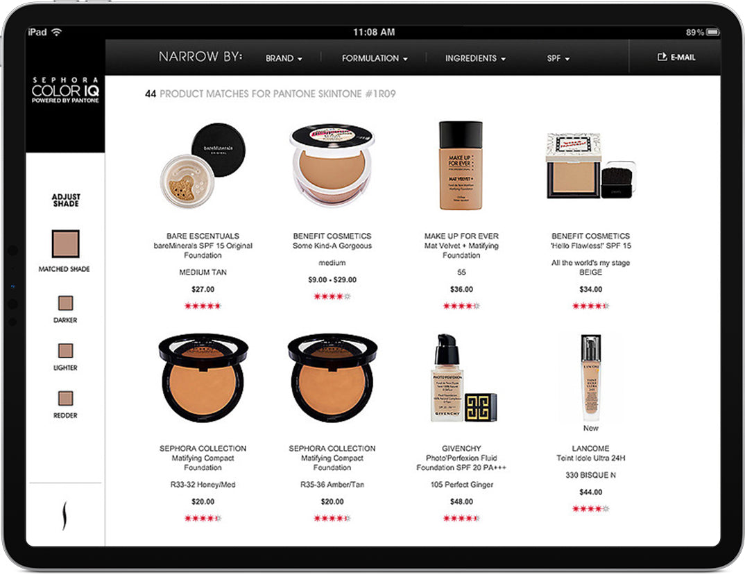 An iPad displaying a screen that allows shoppers to filter makeup by specific categories.
