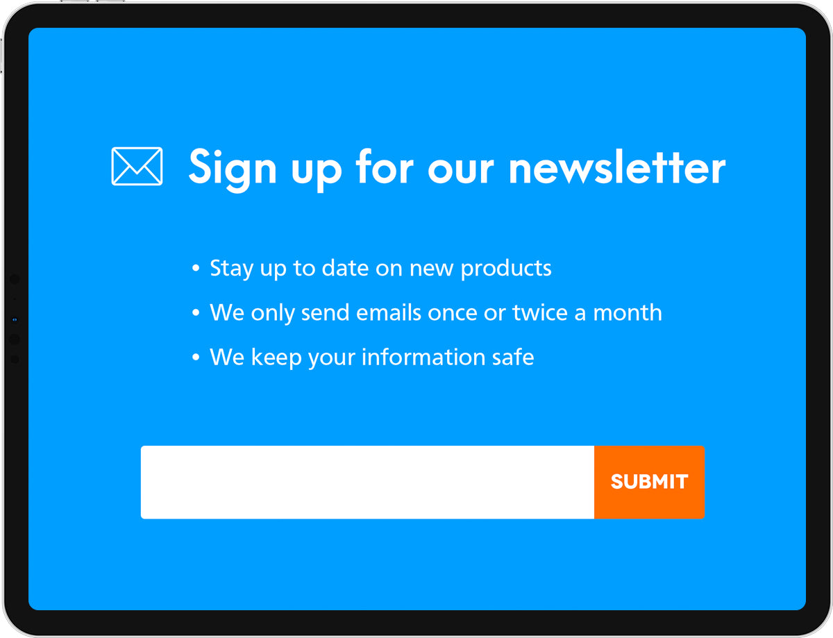 An iPad displaying a newsletter sign-up screen.