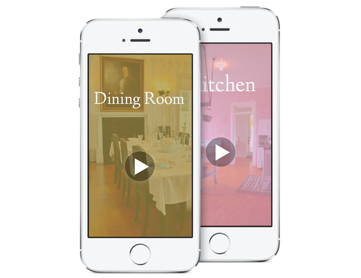 An iPod Touch displaying a photo of a room with a play button to provide an audio tour.