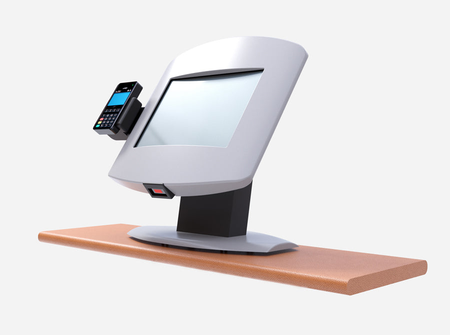 A kiosk rendering of a Countertop with a card reader.