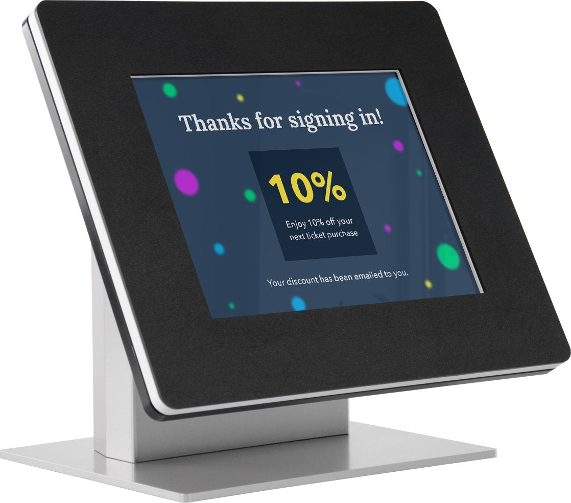 Use a kiosk to encourage visitors to follow you on social media.