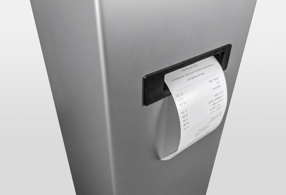 A printed receipt exits from a slot in the front of the kiosk.