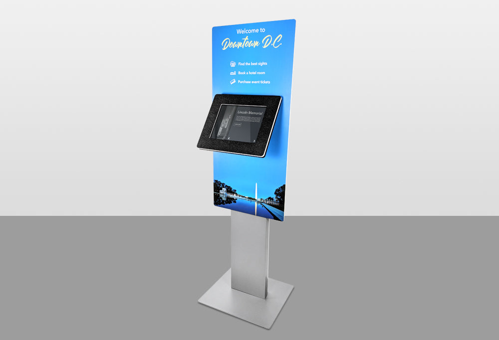 A Standalone kiosk with a Large Graphic Panel. The signage offers information above and below the tablet screen.