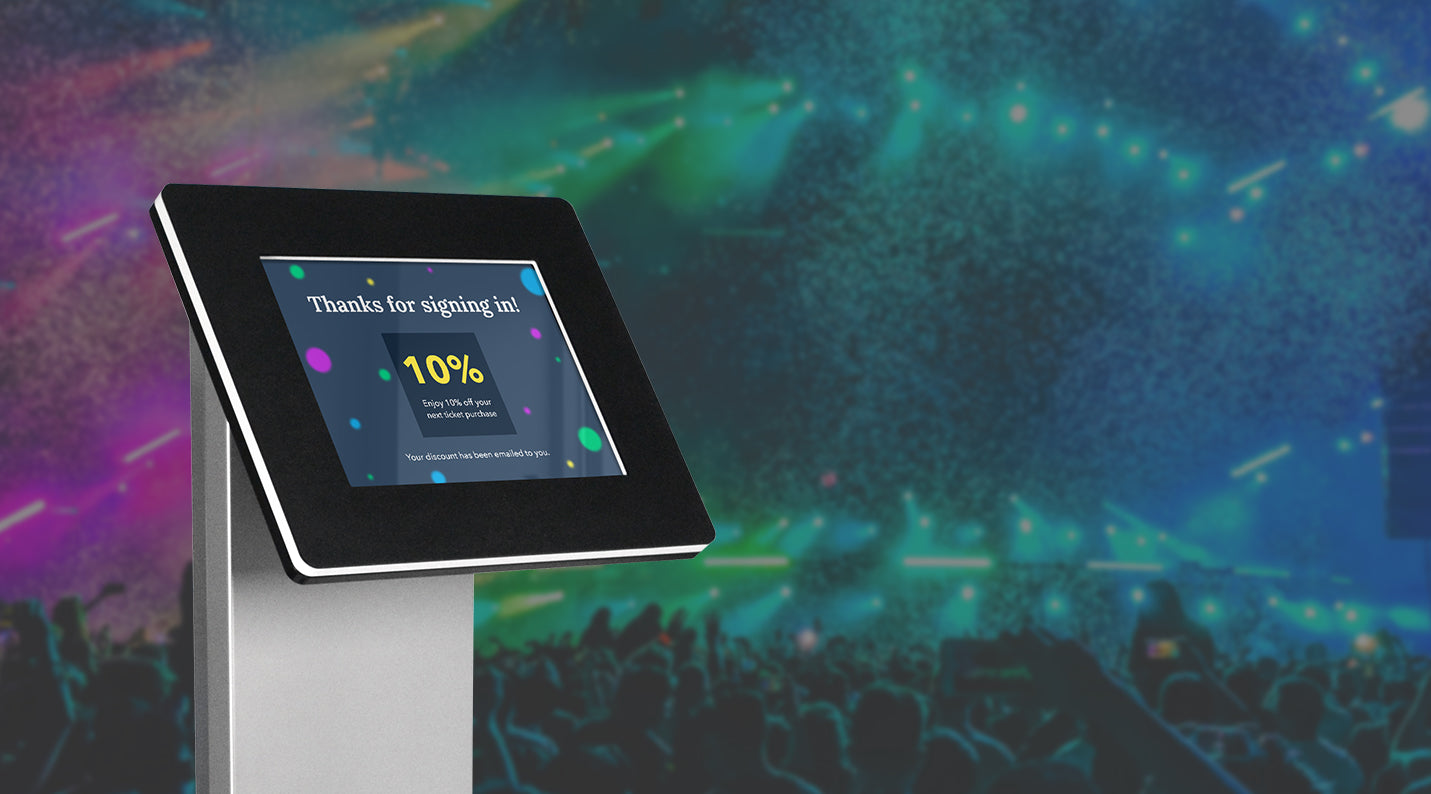 An iPad kiosk showing a loyalty screen at an event.