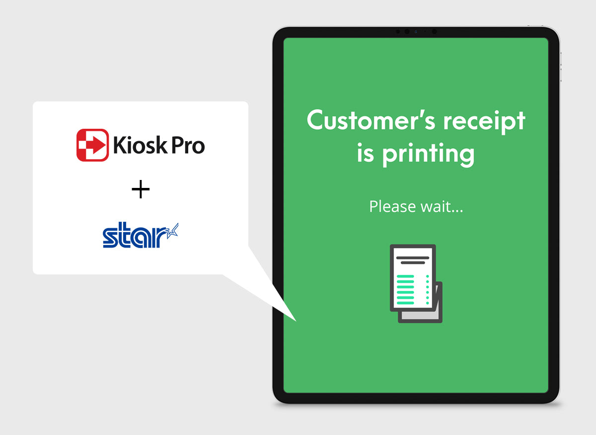 Kiosk Pro displays a printing screen in a tablet.