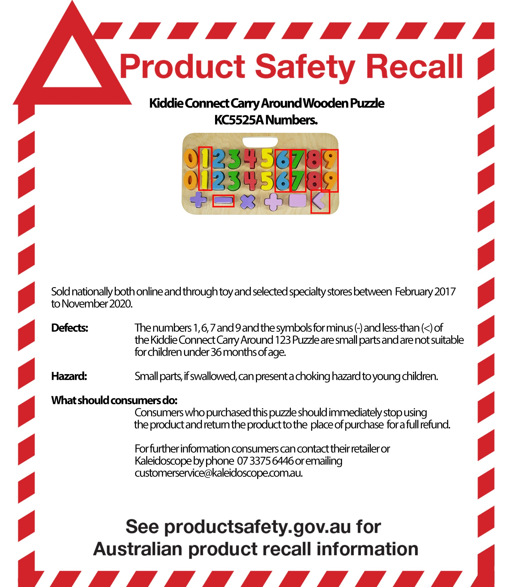 Product Safety Recall Kiddie Connect Carry Around Wooden Puzzle Uppercase Letters