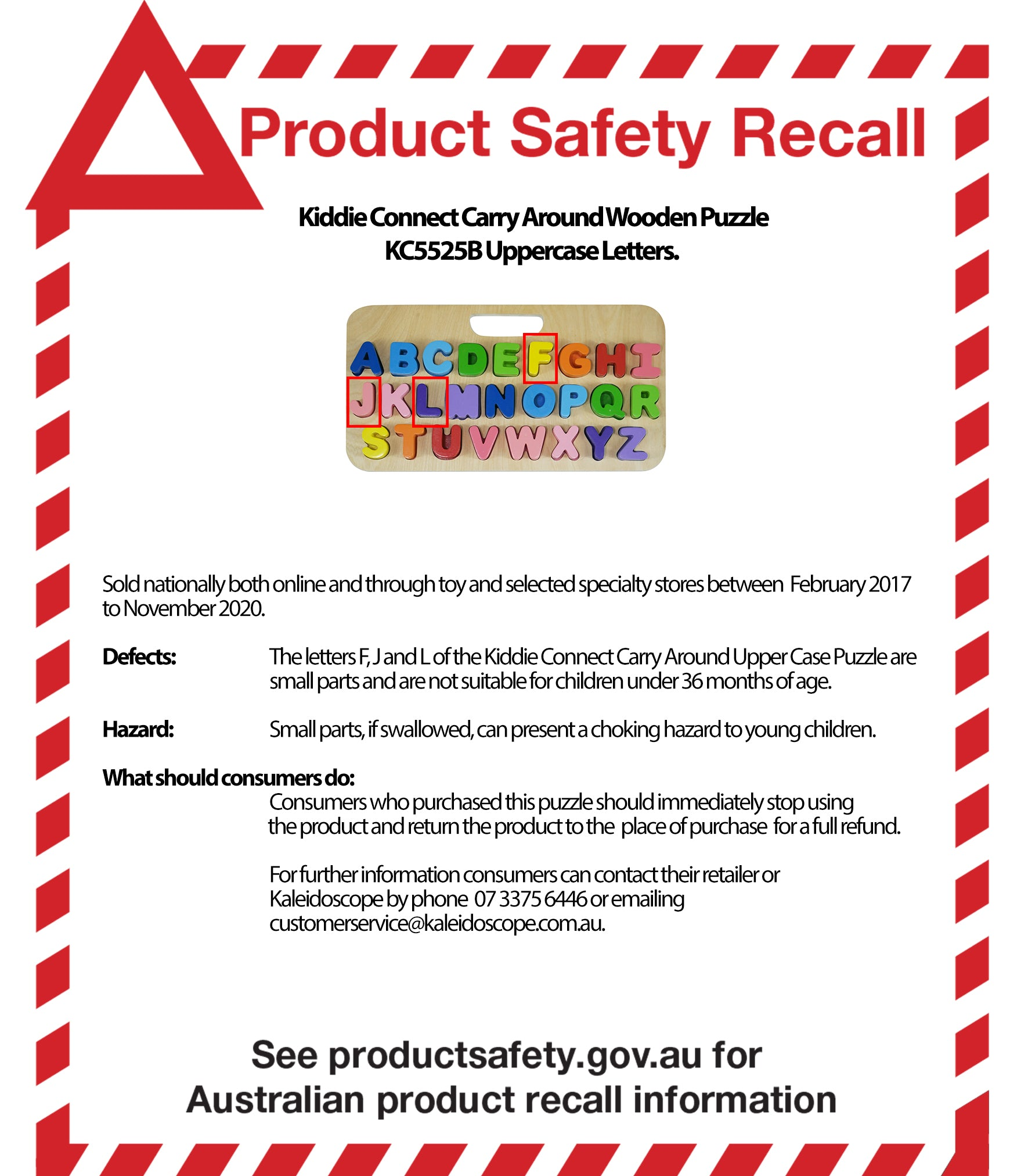 Product Safety Recall Kiddie Connect Carry Around Wooden Puzzle Numbers