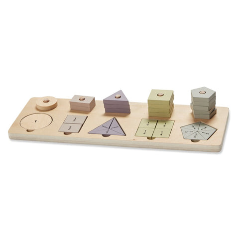 Astrup - Wooden Educational Shapes and Fractions Set
