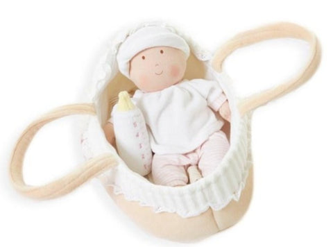 Bonikka - Grace Baby Doll in Carry Cot With Bottle & Blanket