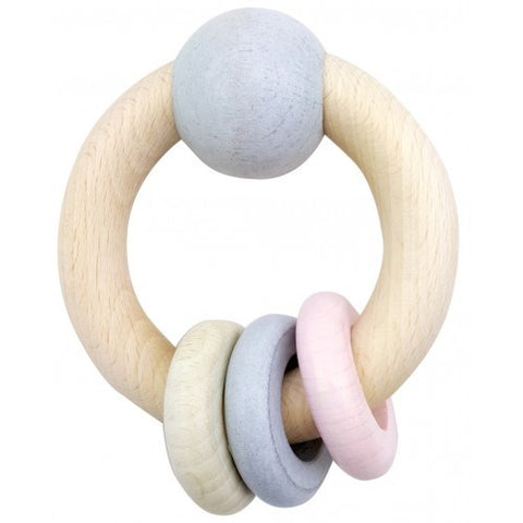 Hess-Spielzeug - Rattle Round With Ball & 3 Rings Natural Pink
