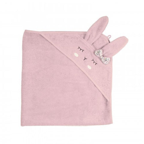 Kikadu - Hooded Bath Towel - Rabbit - Pale Rose