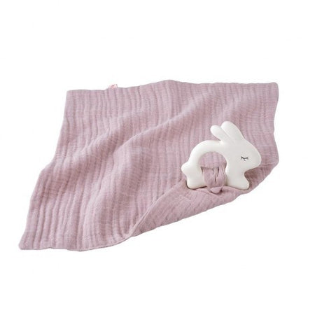 Kikadu - Rabbit Rubber Toy with Pale Rose Muslin